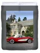 Red Corvette Outside The Playboy Mansion Duvet Cover