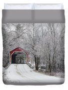 Red Covered Bridge In The Winter Duvet Cover