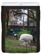 Red Crowned Crane Duvet Cover