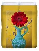Red Daisy In Grape Vase Duvet Cover