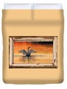Red Dawn Swan Framed In Old Window Frame Duvet Cover