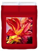 Red Day Lily Duvet Cover