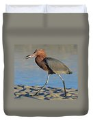Red Egret With Fish Duvet Cover