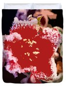 Red Flower With Frost Duvet Cover