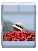 Red Flowers And Straw Hat Duvet Cover