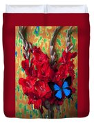 Red Gladiolus And Blue Butterfly Duvet Cover