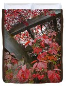 Red Grape Leaves And Beams Duvet Cover