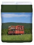 Red Hay Wagon In Green Mountain Field Duvet Cover