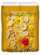 Red Heart And Yellow Buttons Duvet Cover