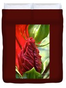 Red Hibiscus Torch Duvet Cover