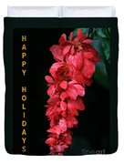 Red Holiday Greeting Card Duvet Cover
