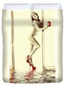 Red Hot Fire And Flood Duvet Cover