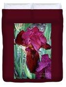 Red Iris Duo Duvet Cover