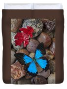 Red Leaf And Blue Butterfly Duvet Cover