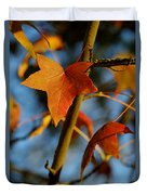 Red Leaves In Winter Sunset Duvet Cover