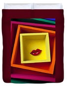 Red Lips In Yellow Box Duvet Cover