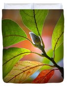 Red Magnolia Leaves With Bud Duvet Cover