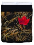 Red Maple Leaf On Pine Needles In Pool Duvet Cover by Mike Grandmailson