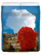 Red Maple White Cloud Duvet Cover
