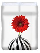 Red Mum In Striped Vase Duvet Cover