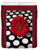 Red Mum With White Spots Duvet Cover