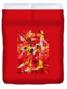 Red Orange Abstract Duvet Cover