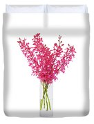 Red Orchid In Vase Duvet Cover