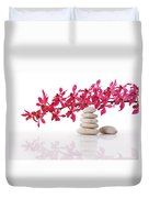 Red Orchid With Balance Stone Duvet Cover