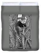 Red Panda 2 Monochrome Duvet Cover