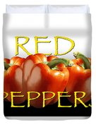 Red Peppers On White And Black Duvet Cover