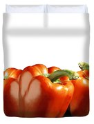 Red Peppers On White Duvet Cover