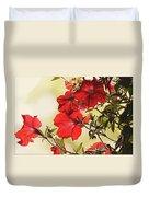 Red Petunias Duvet Cover