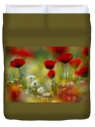 Red Poppies And Small Daisies Bloom Duvet Cover