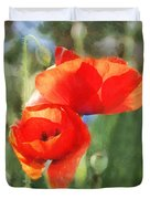 Red Poppies In Sunlight Duvet Cover