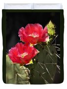 Red Prickly Pear Cactus  Duvet Cover