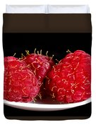 Red Raspberries On A White Spoon Against Black No.0102 Duvet Cover