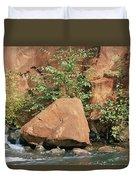Red Rocks, Fall Colors And Creek, Oak Duvet Cover