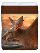 Red Roos Duvet Cover