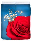 Red Rose And Baby Breath Duvet Cover