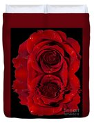 Red Rose Dew Duvet Cover