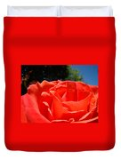 Red Rose Flower Bright Colorful Vivid Red Floral Rose Duvet Cover