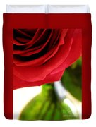 Red Rose In Glass Vase Duvet Cover