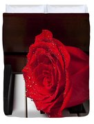 Red Rose On Piano Duvet Cover