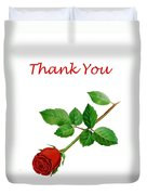 Red Rose Thank You Card Duvet Cover