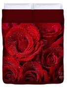Red Roses And Water Drops Duvet Cover