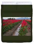 Red Rows Duvet Cover