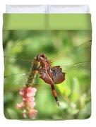 Red Saddlebag Dragonfly In The Marsh Duvet Cover