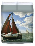 Red-sailed Sailboat And Others Duvet Cover