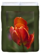 Red Spring Blooming Tulip Duvet Cover