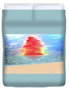 Red Sun Setting Duvet Cover